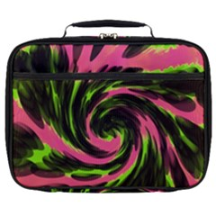 Swirl Black Pink Green Full Print Lunch Bag by BrightVibesDesign