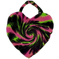Swirl Black Pink Green Giant Heart Shaped Tote