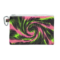 Swirl Black Pink Green Canvas Cosmetic Bag (large)