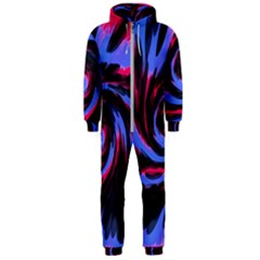 Swirl Black Blue Pink Hooded Jumpsuit (men)  by BrightVibesDesign