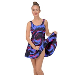 Swirl Black Blue Pink Inside Out Casual Dress by BrightVibesDesign