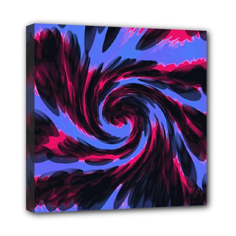 Swirl Black Blue Pink Mini Canvas 8  X 8  by BrightVibesDesign