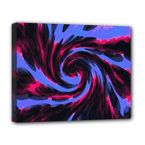Swirl Black Blue Pink Deluxe Canvas 20  X 16   by BrightVibesDesign