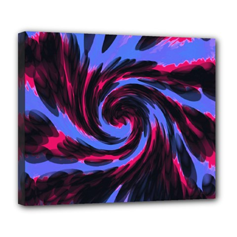 Swirl Black Blue Pink Deluxe Canvas 24  X 20   by BrightVibesDesign