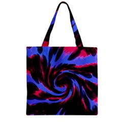 Swirl Black Blue Pink Zipper Grocery Tote Bag by BrightVibesDesign