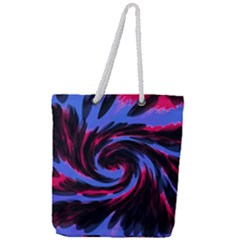 Swirl Black Blue Pink Full Print Rope Handle Tote (large) by BrightVibesDesign