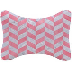 Chevron1 White Marble & Pink Watercolor Seat Head Rest Cushion by trendistuff