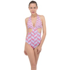 Chevron1 White Marble & Pink Watercolor Halter Front Plunge Swimsuit