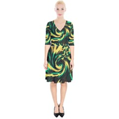 Swirl Black Yellow Green Wrap Up Cocktail Dress by BrightVibesDesign