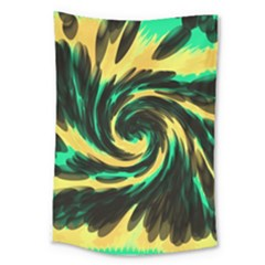 Swirl Black Yellow Green Large Tapestry by BrightVibesDesign