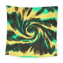 Swirl Black Yellow Green Square Tapestry (large) by BrightVibesDesign