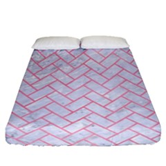 Brick2 White Marble & Pink Watercolor (r) Fitted Sheet (queen Size) by trendistuff