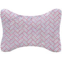 Brick2 White Marble & Pink Watercolor (r) Seat Head Rest Cushion by trendistuff