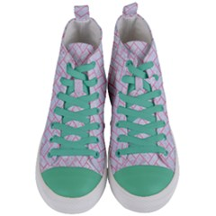 Brick2 White Marble & Pink Watercolor (r) Women s Mid Top Canvas Sneakers
