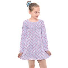Brick2 White Marble & Pink Watercolor (r) Kids  Long Sleeve Dress