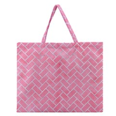 Brick2 White Marble & Pink Watercolor Zipper Large Tote Bag by trendistuff