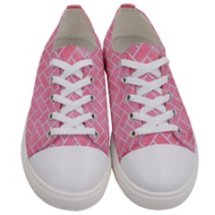 Brick2 White Marble & Pink Watercolor Women s Low Top Canvas Sneakers
