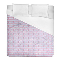 Brick1 White Marble & Pink Watercolor (r) Duvet Cover (full/ Double Size) by trendistuff