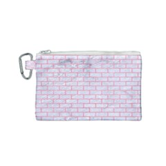 Brick1 White Marble & Pink Watercolor (r) Canvas Cosmetic Bag (small) by trendistuff