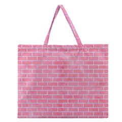 Brick1 White Marble & Pink Watercolor Zipper Large Tote Bag by trendistuff