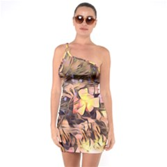 Spring Flowers One Soulder Bodycon Dress