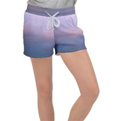 Blue Pink Clouds Women s Velour Lounge Shorts