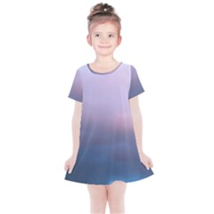 Blue Pink Clouds Kids  Simple Cotton Dress
