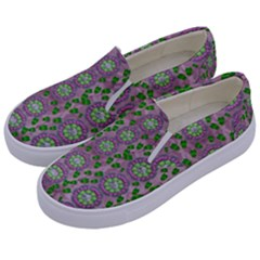 Ivy And  Holm Oak With Fantasy Meditative Orchid Flowers Kids  Canvas Slip Ons by pepitasart