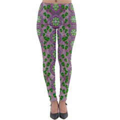 Ivy And  Holm Oak With Fantasy Meditative Orchid Flowers Lightweight Velour Leggings