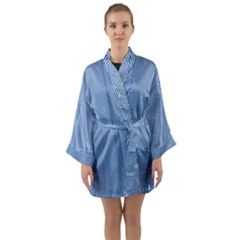 Mod Twist Stripes Blue And White Long Sleeve Kimono Robe by BrightVibesDesign