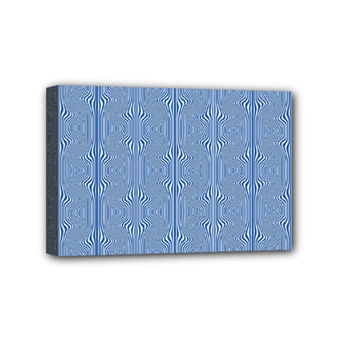 Mod Twist Stripes Blue And White Mini Canvas 6  X 4  by BrightVibesDesign