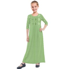 Mod Twist Stripes Green And White Kids  Quarter Sleeve Maxi Dress by BrightVibesDesign