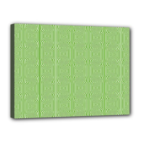 Mod Twist Stripes Green And White Canvas 16  X 12  by BrightVibesDesign