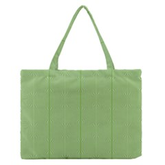 Mod Twist Stripes Green And White Zipper Medium Tote Bag by BrightVibesDesign