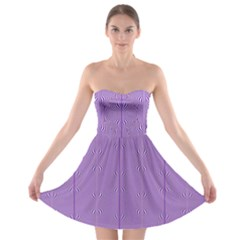 Mod Twist Stripes Purple And White Strapless Bra Top Dress by BrightVibesDesign