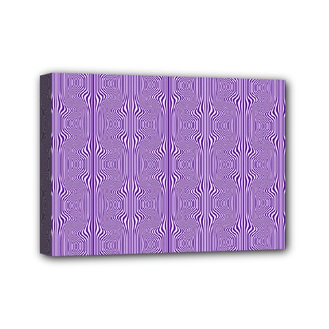 Mod Twist Stripes Purple And White Mini Canvas 7  X 5  by BrightVibesDesign