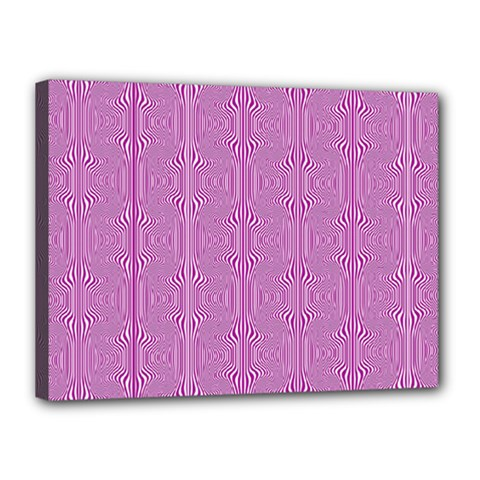 Mod Twist Stripes Pink And White Canvas 16  X 12  by BrightVibesDesign