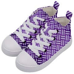 Woven2 White Marble & Purple Brushed Metal Kid s Mid Top Canvas Sneakers by trendistuff