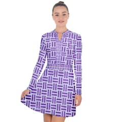 Woven1 White Marble & Purple Brushed Metal (r) Long Sleeve Panel Dress
