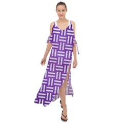 Woven1 White Marble & Purple Brushed Metal Maxi Chiffon Cover Up Dress by trendistuff