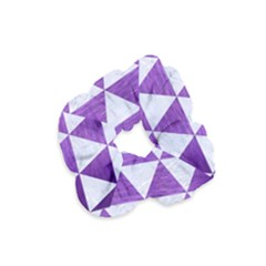 Triangle3 White Marble & Purple Brushed Metal Velvet Scrunchie by trendistuff