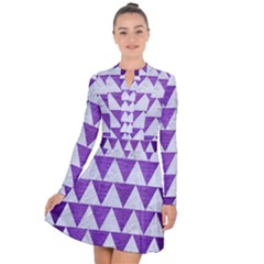 Triangle2 White Marble & Purple Brushed Metal Long Sleeve Panel Dress
