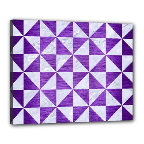 Triangle1 White Marble & Purple Brushed Metal Canvas 20  X 16  by trendistuff
