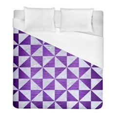Triangle1 White Marble & Purple Brushed Metal Duvet Cover (full/ Double Size) by trendistuff