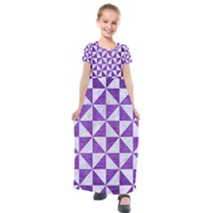 Triangle1 White Marble & Purple Brushed Metal Kids  Short Sleeve Maxi Dress