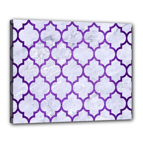 Tile1 White Marble & Purple Brushed Metal (r) Canvas 20  X 16  by trendistuff