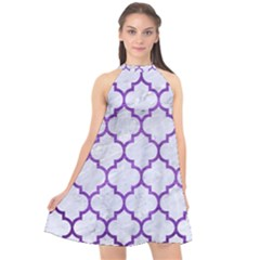 Tile1 White Marble & Purple Brushed Metal (r) Halter Neckline Chiffon Dress