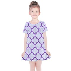 Tile1 White Marble & Purple Brushed Metal (r) Kids  Simple Cotton Dress
