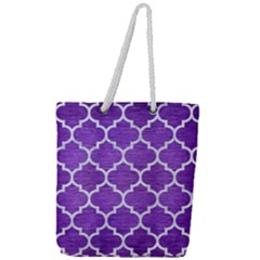 Tile1 White Marble & Purple Brushed Metal Full Print Rope Handle Tote (large) by trendistuff