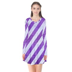 Stripes3 White Marble & Purple Brushed Metal (r) Long Sleeve V Neck Flare Dress by trendistuff